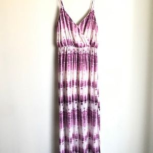 One Clothing LA Maxi Dress Plum White Tie Dye Sz M